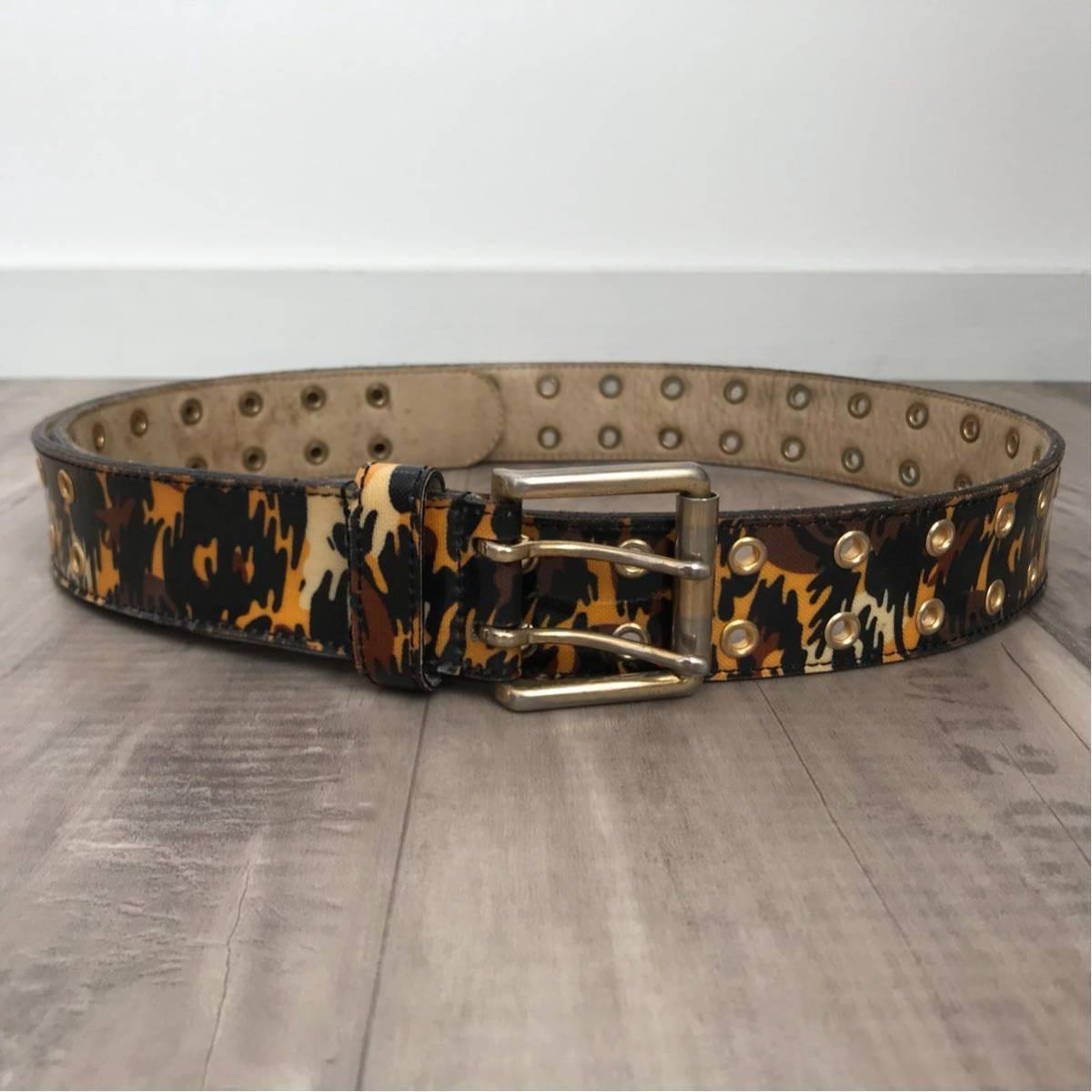 レオパードカモ gold バックル ベルト Lサイズ a bathing ape BAPE belt Leopard camo エイプ ベイプ アベイシングエイプ ヒョウ柄 豹柄