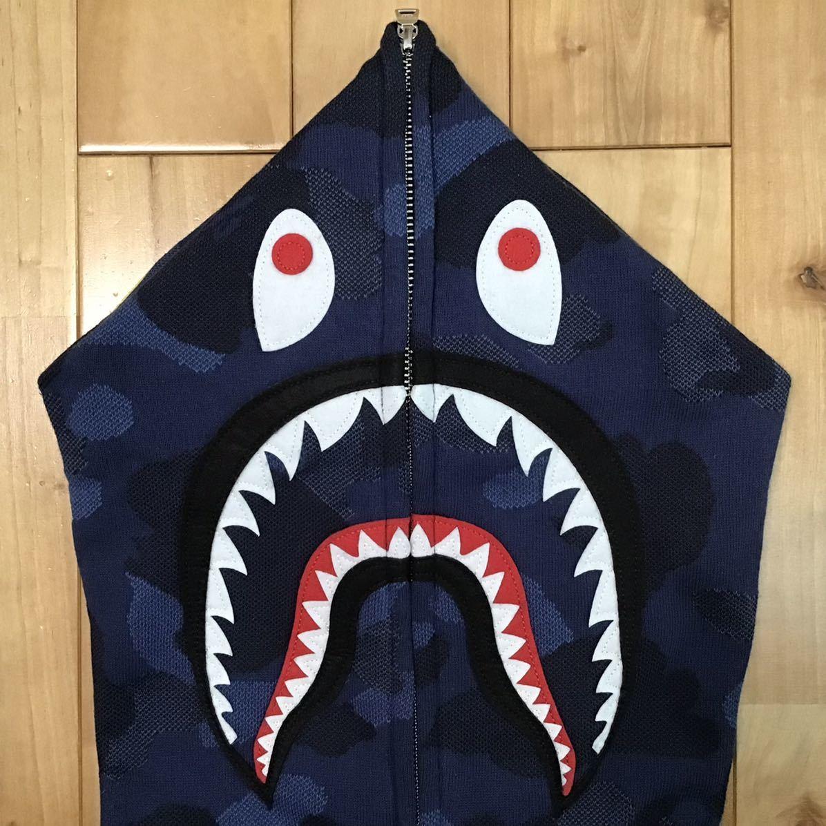 ★新品★ ジャガードカモ シャーク パーカー Lサイズ Jacquard shark full zip hoodie a bathing ape bape blue camo エイプ ベイプ 78l4