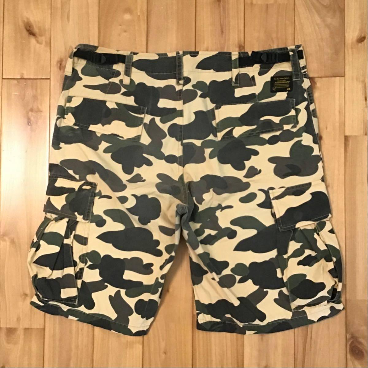 1st camo yellow ハーフパンツ Mサイズ a bathing ape BAPE shorts pants エイプ ベイプ アベイシングエイプ 迷彩 ショーツ ac6c