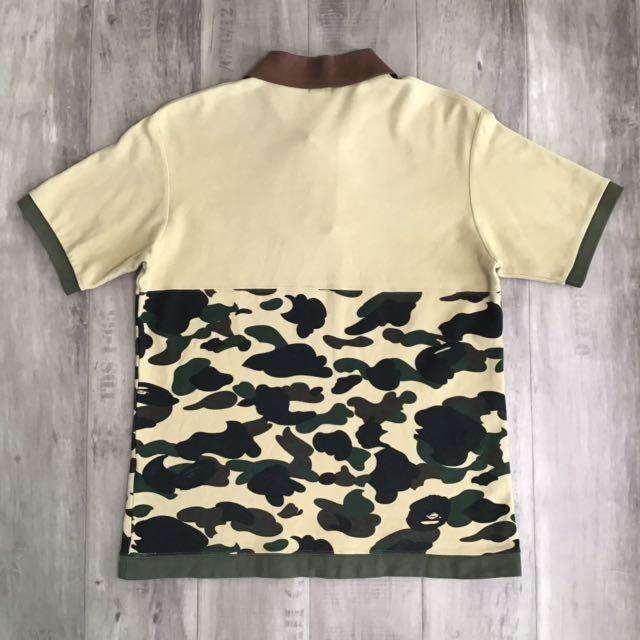 1st camo yellow 切り替え ポロシャツ Mサイズ a bathing ape BAPE エイプ ベイプ アベイシングエイプ 迷彩 2141