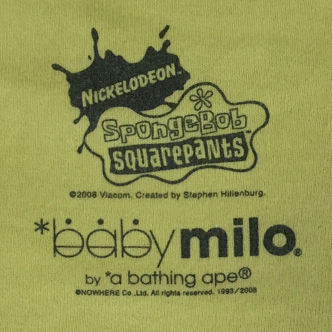 スポンジボブ × BAPE Tシャツ Mサイズ a bathing ape baby milo エイプ ベイプ アベイシングエイプ Sponge Bob face マイロ 99t9