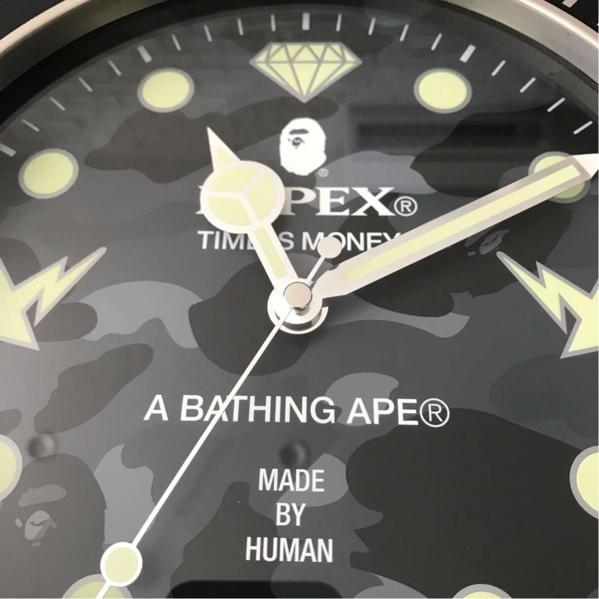★激レア★ BAPEX wall clock black camo ウォール クロック 掛け時計 a bathing ape BAPE エイプ ベイプ 時計 黒 迷彩 ブラック