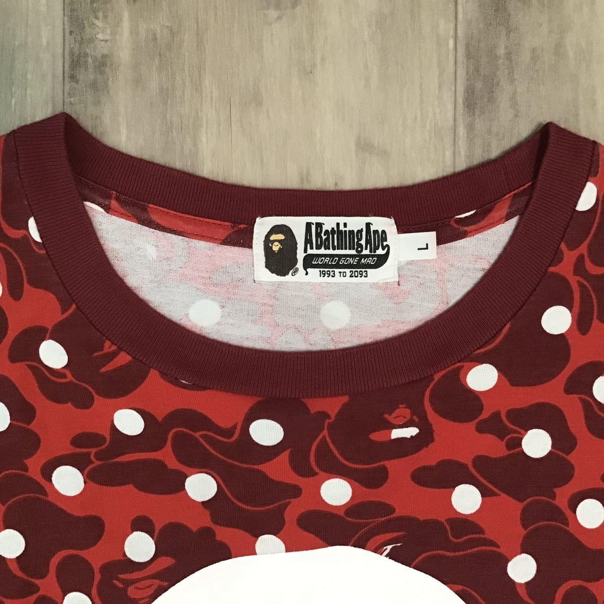 Dot camo BIG HEAD Tシャツ Lサイズ a bathing ape BAPE エイプ ベイプ アベイシングエイプ 迷彩 red レッドカモ a65