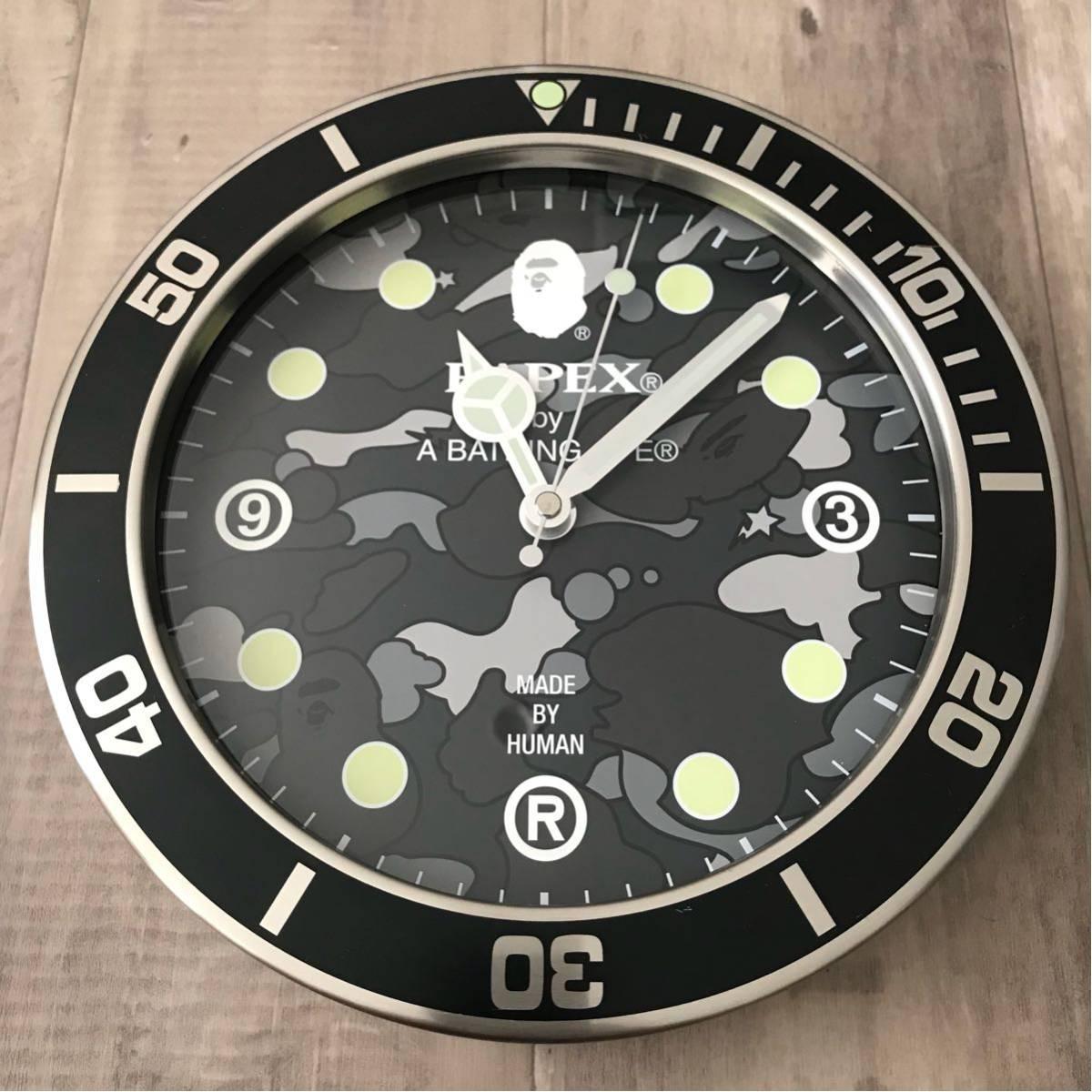 ★激レア★ BAPEX wall clock sta camo ウォール クロック 掛け時計 a bathing ape BAPE エイプ ベイプ 時計 psyche camo サイケカモ black