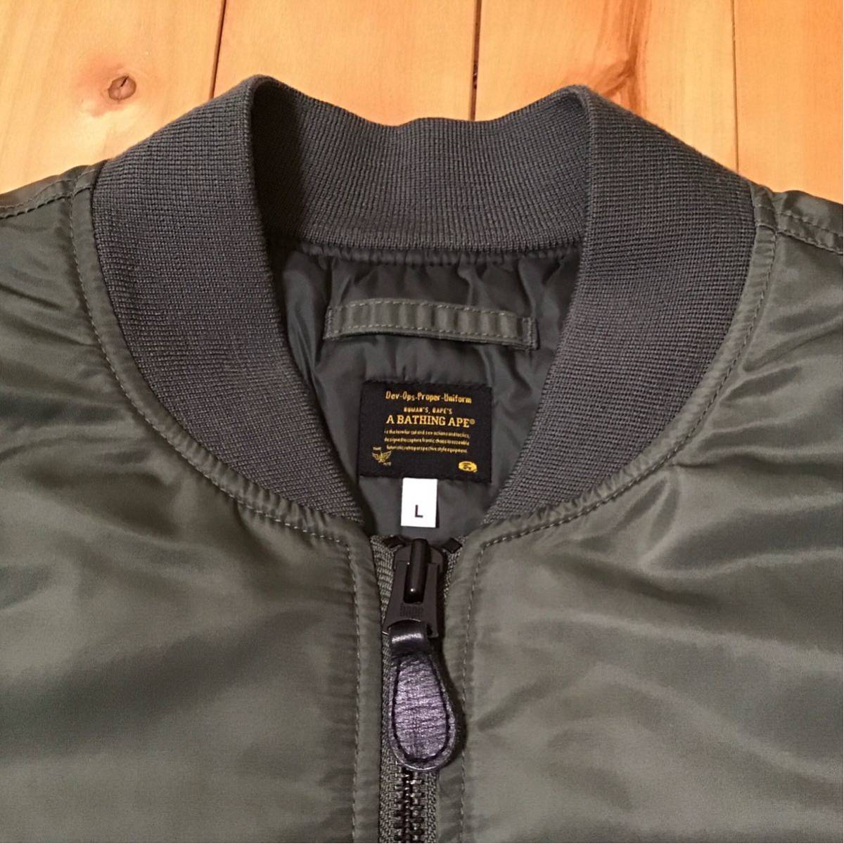 BAPE MA-1 jacket Lサイズ a bathing ape general logo 1st camo エイプ ベイプ アベイシングエイプ 迷彩 カーキ