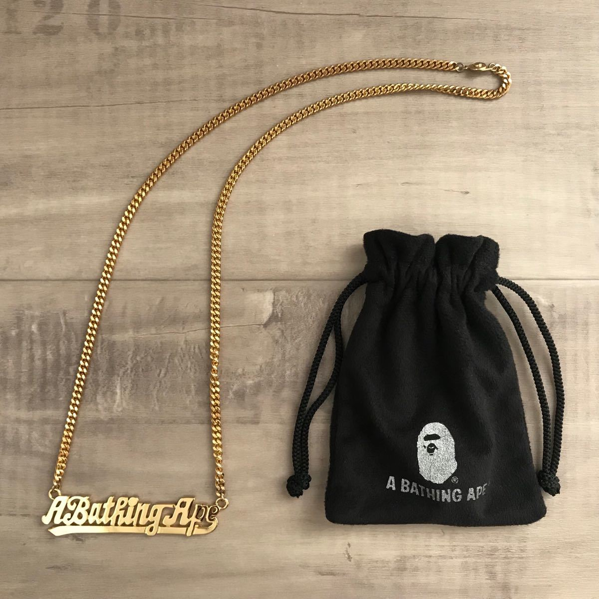 a bathing ape logo gold necklace bape エイプ ベイプ アベイシングエイプ ロゴ ゴールド ネックレス グッズ チェーン