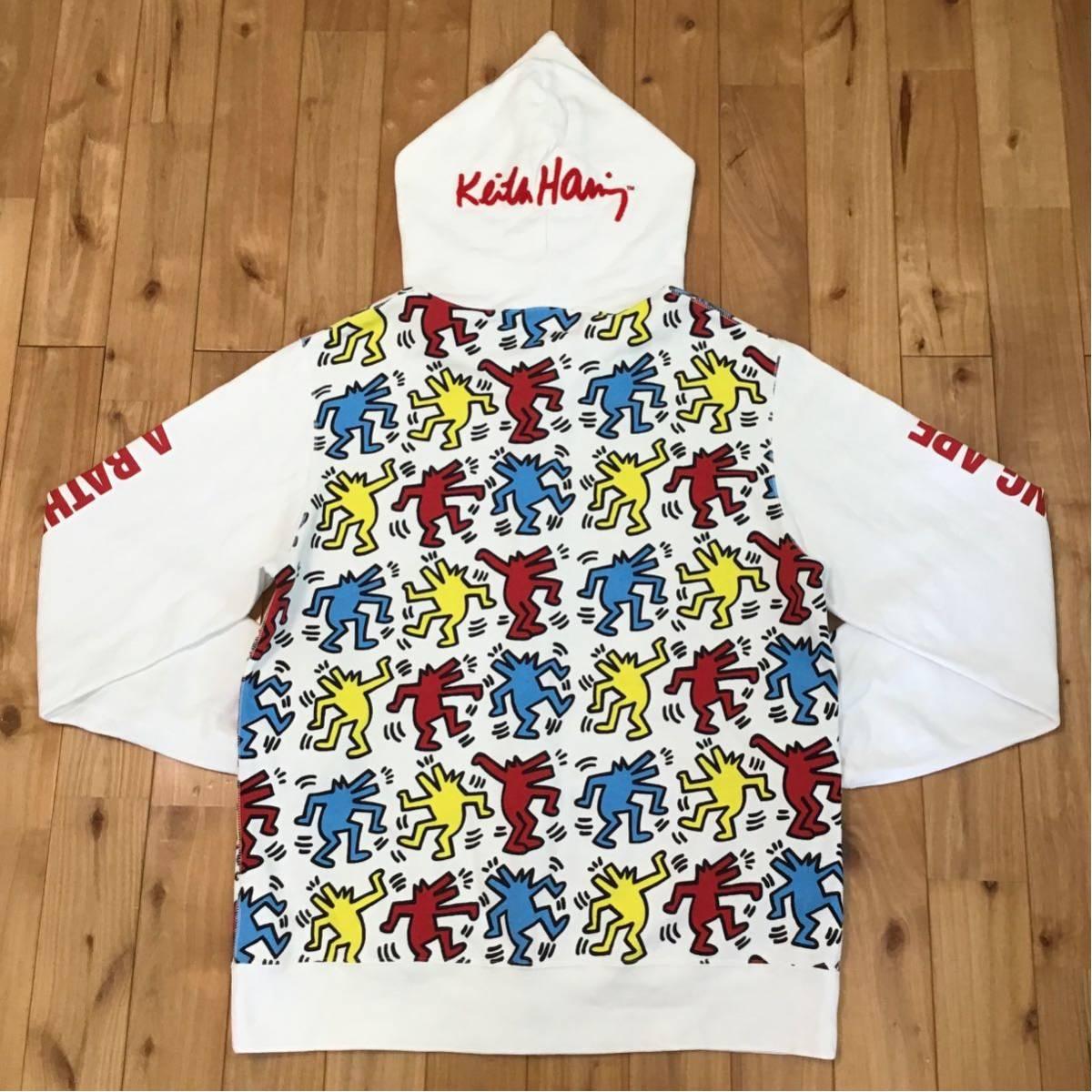 ★2XL★ キースヘリング × BAPE シャーク パーカー KEITH HARING shark full zip hoodie a bathing ape エイプ ベイプ XXL tp65