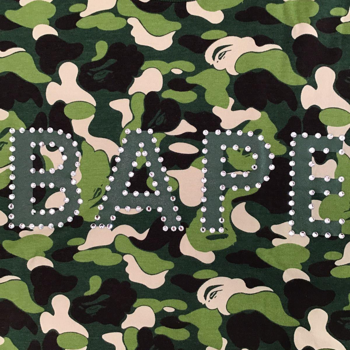 スワロフスキー BAPE logo ABC camo 長袖 Tシャツ Mサイズ a bathing ape swarovski ラインストーン エイプ ベイプ アベイシングエイプ 214
