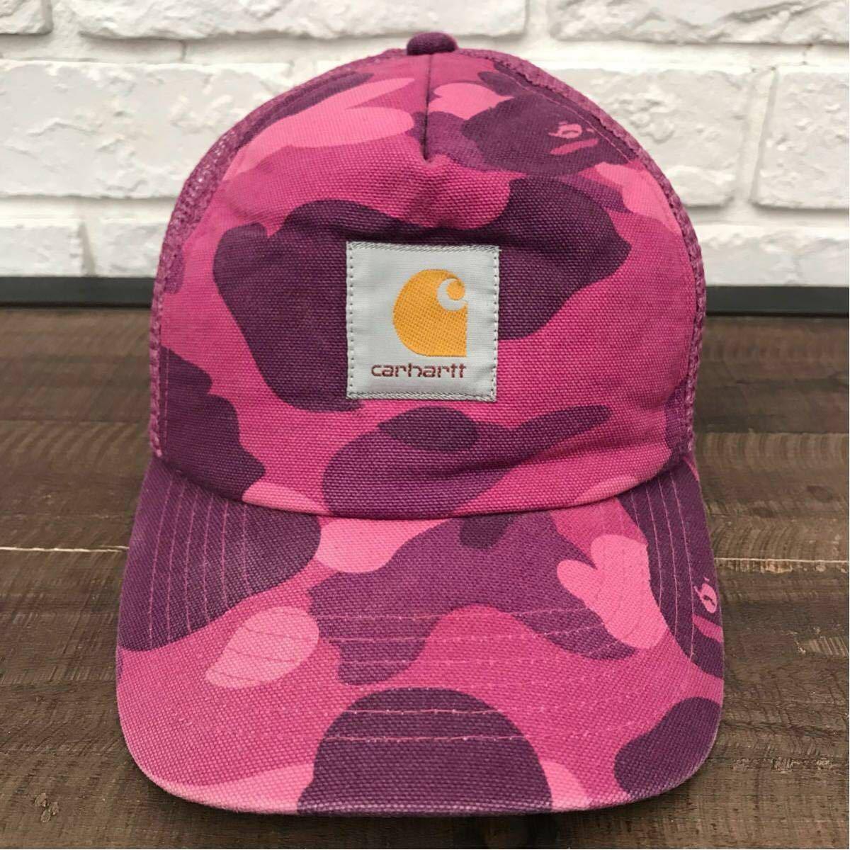 ★激レア★ carhartt × bape スナップバック キャップ カーハート a bathing ape エイプ ベイプ アベイシングエイプ cap 帽子 purple camo