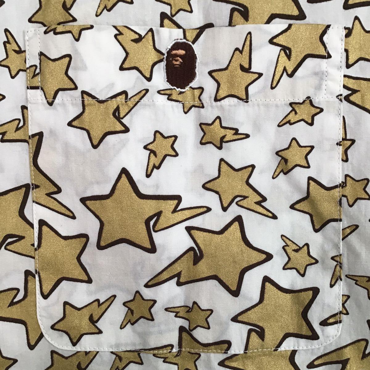 ★初期★ Gold BAPESTA 長袖シャツ Lサイズ a bathing ape bape sta エイプ ベイプ アベイシングエイプ vintage NIGO 1098