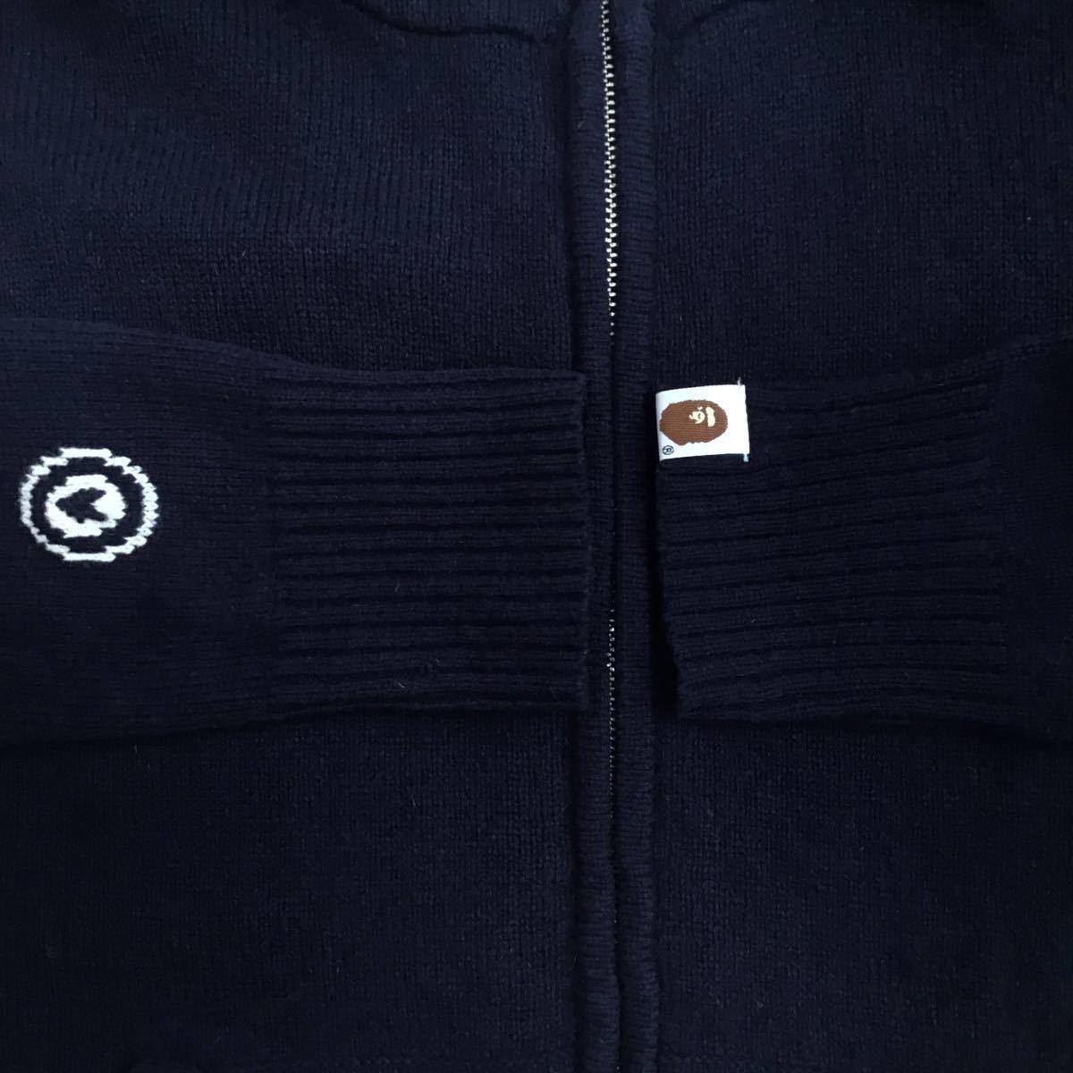★レア★ ニット シャーク パーカー Sサイズ knit shark full zip hoodie a bathing ape bape エイプ ベイプ アベイシングエイプ navy 2532