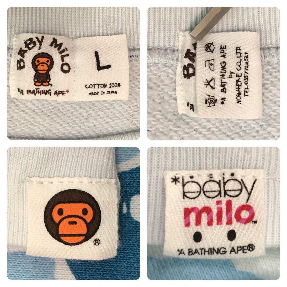 ABC milo camo blue 長袖スウェット Lサイズ a bathing ape bape sweat エイプ ベイプ アベイシングエイプ ABCカモ 迷彩 2280