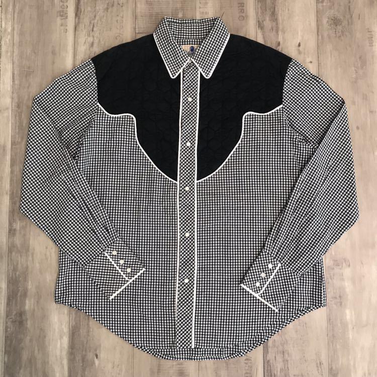 ウエスタン ギンガムチェック シャツ XLサイズ a bathing ape BAPE エイプ ベイプ アベイシングエイプ NIGO Western shirt