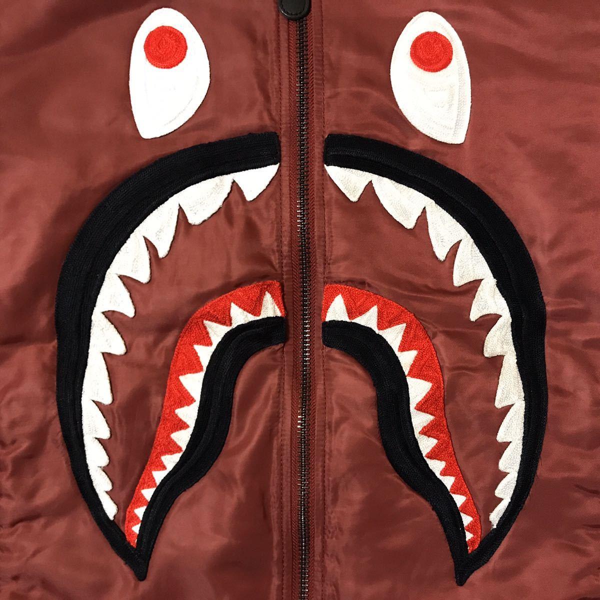 SHARK MA-1 bomber jacket Lサイズ a bathing ape BAPE エイプ ベイプ アベイシングエイプ ジャケット スタジャン varsity WGM