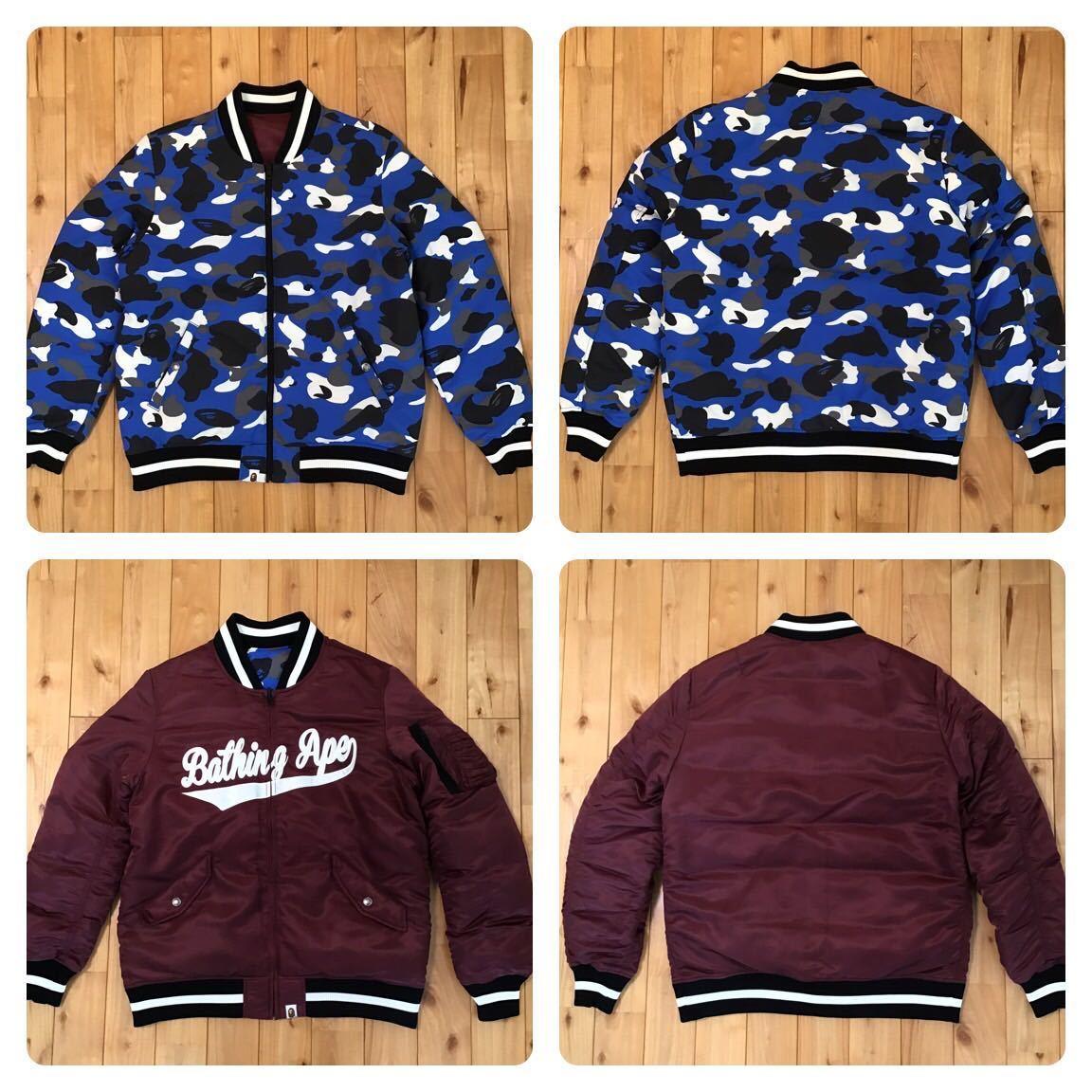 ★リバーシブル★ MA-1 ダウンジャケット Lサイズ a bathing ape BAPE camo down jacket エイプ ベイプ アベイシングエイプ bomber jacket