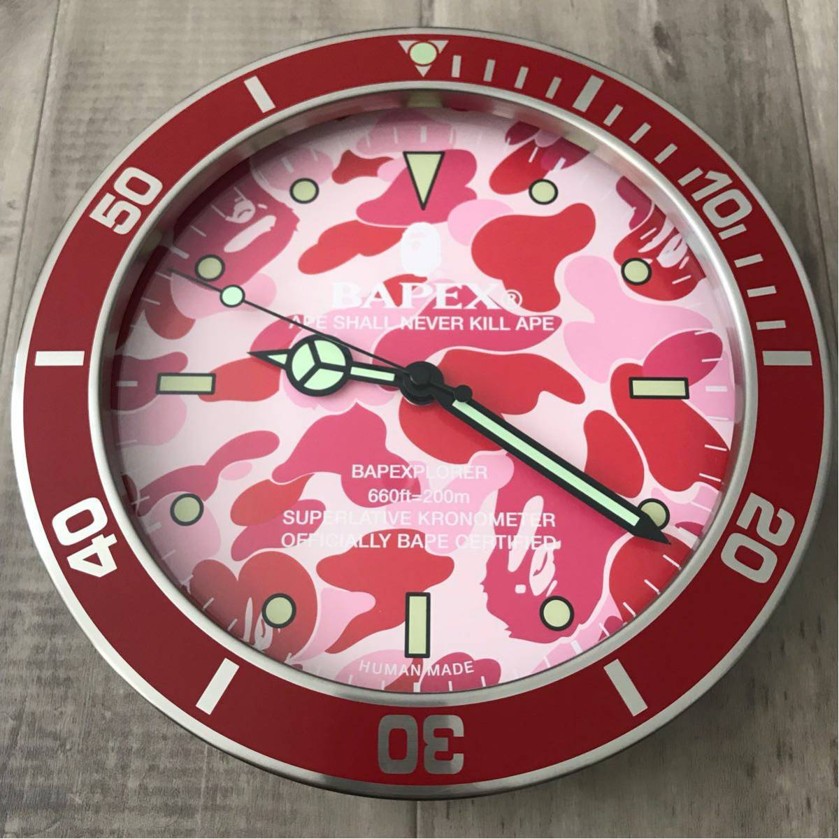 ★新品★ BAPEX wall clock pink camo ウォール クロック 掛け時計 a bathing ape BAPE エイプ ベイプ 時計 ピンク 迷彩 ABC camo ABCカモ