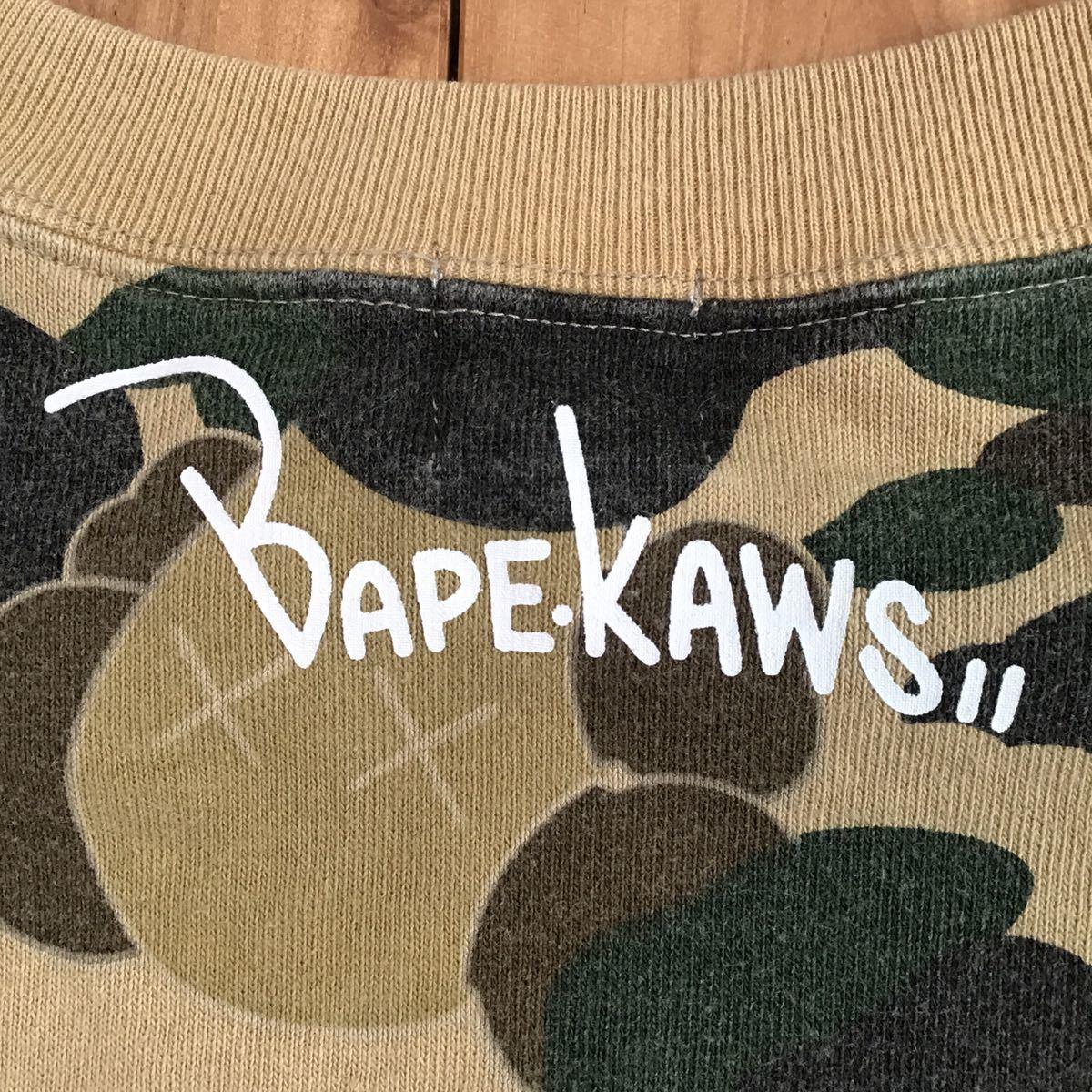 kaws × bape 半袖 スウェット Sサイズ bendy 1st camo yellow a bathing ape sweat エイプ ベイプ アベイシングエイプ 迷彩 1223