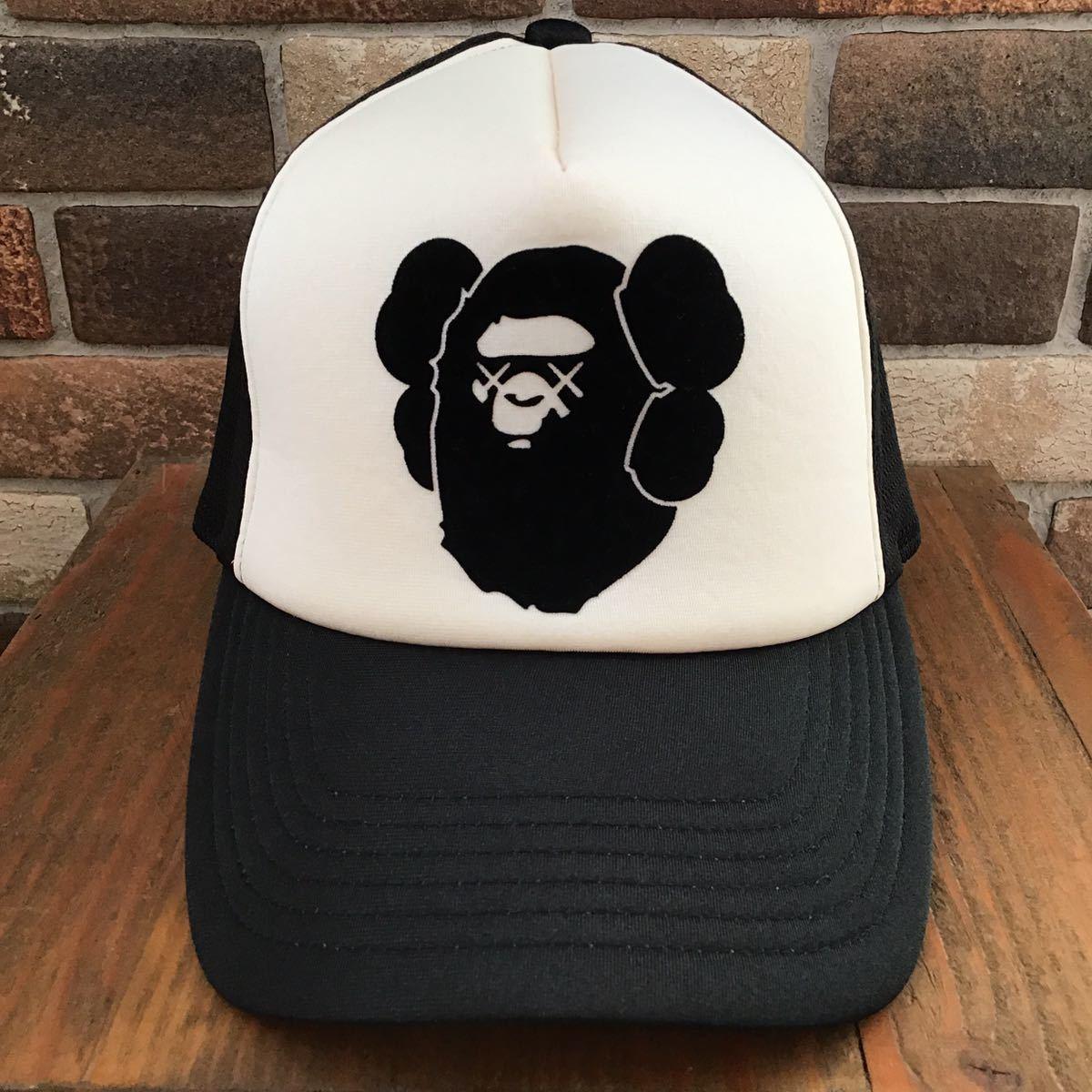 ★激レア★ kaws × BAPE メッシュ キャップ a bathing ape エイプ ベイプ アベイシングエイプ カウズ 帽子 trucker hat cap nigo black