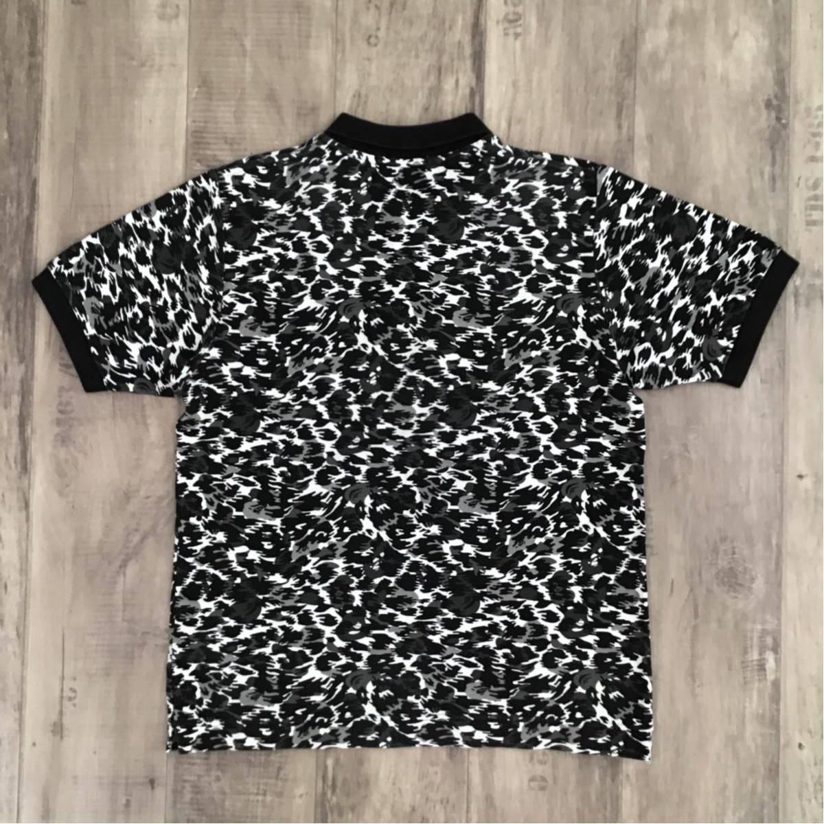 Leopard camo ポロシャツ Sサイズ ブラック a bathing ape bape polo shirt レオパード 迷彩 エイプ ベイプ アベイシングエイプ 豹柄 m83