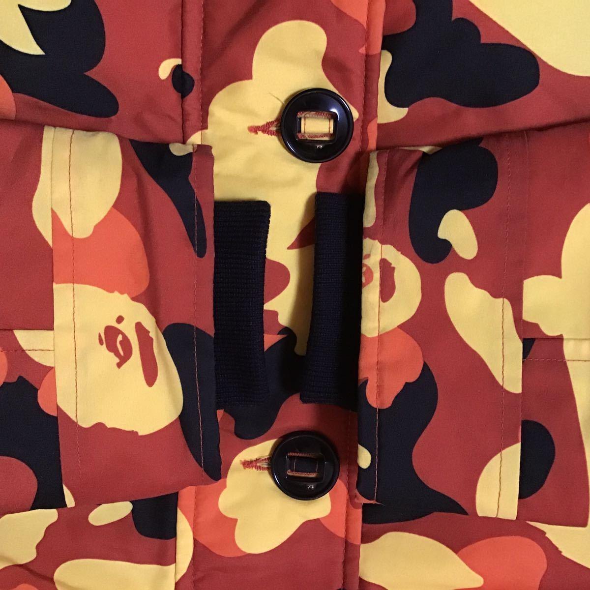 orange camo fur hoodie down jacket Sサイズ a bathing ape bape ダウンジャケット エイプ ベイプ アベイシングエイプ 迷彩 3623