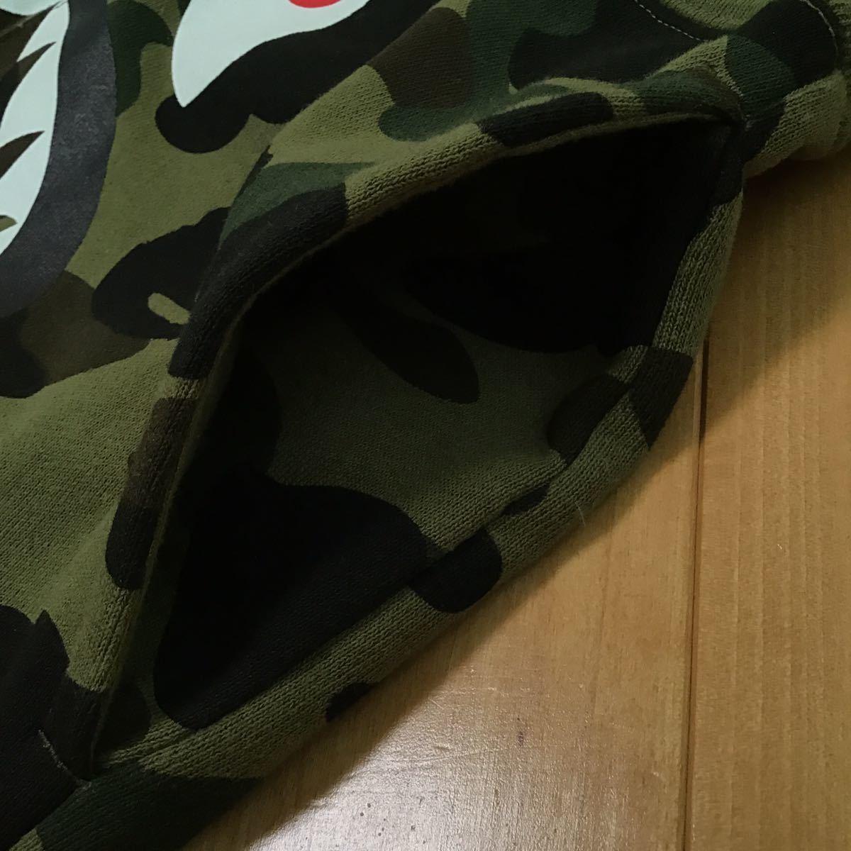 ★美品★ 1st camo green シャーク スウェット ハーフパンツ Sサイズ ショーツ a bathing ape bape shark pants shorts エイプ ベイプ 5208