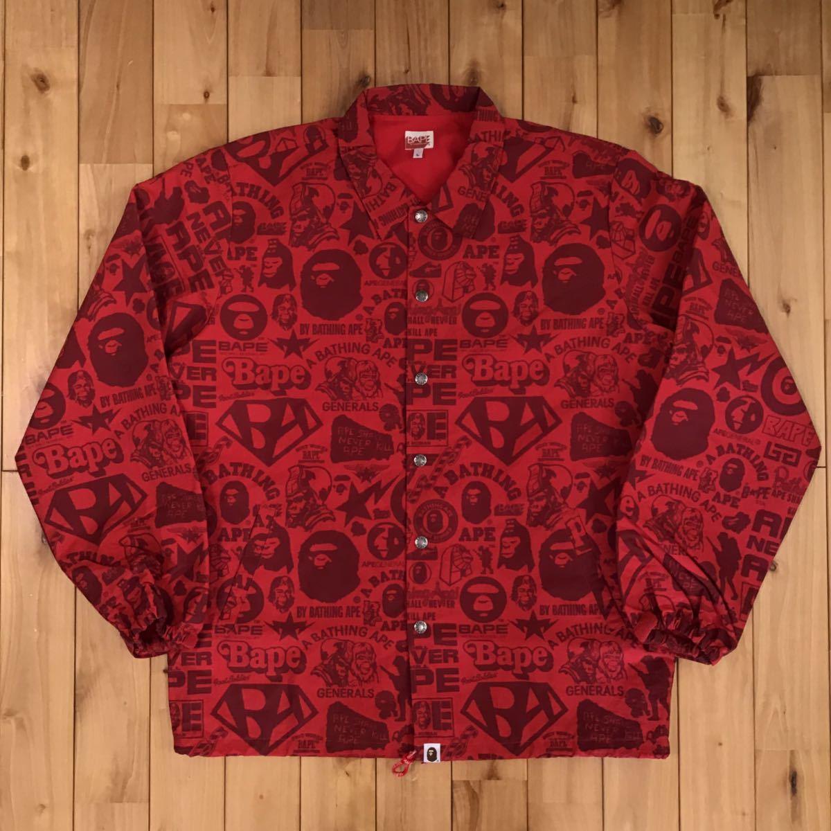 MIX LOGO コーチジャケット Lサイズ a bathing ape BAPE coach jacket red エイプ ベイプ アベイシングエイプ 5570