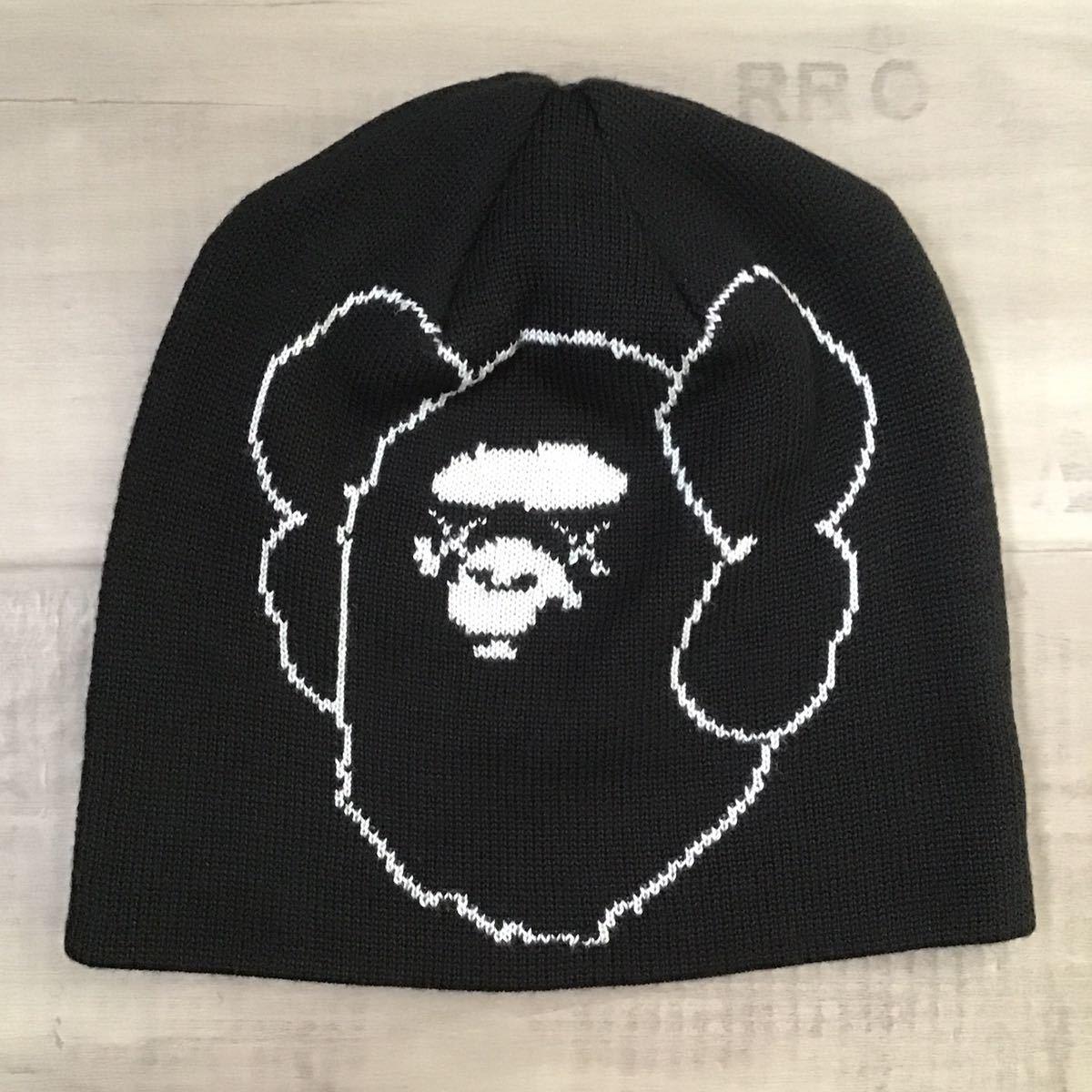 ★激レア★ KAWS × BAPE ニット帽 ビーニー a bathing ape Beanie カウズ エイプ ベイプ アベイシングエイプ black nigo 帽子 2285