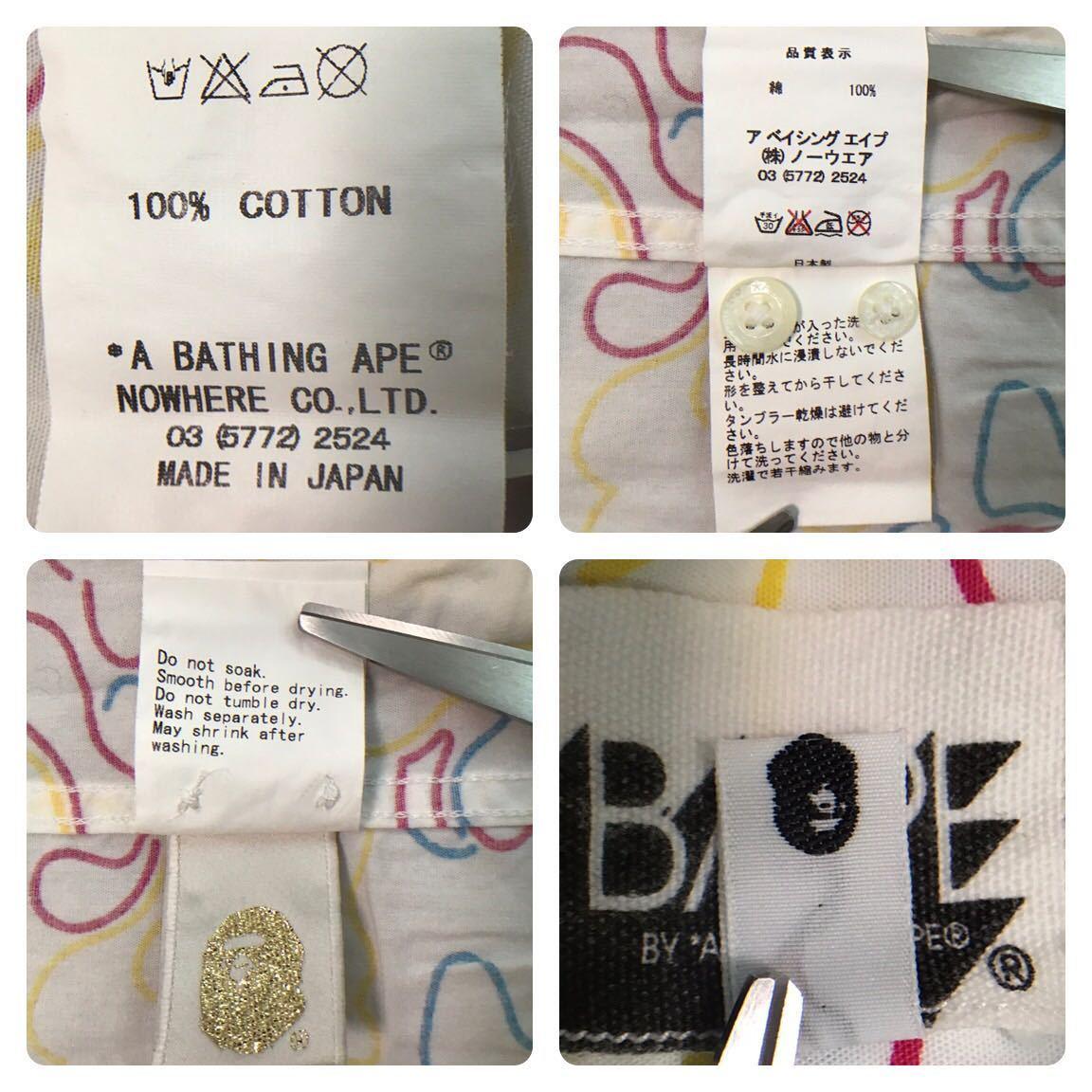 Neon camo BD 半袖シャツ Mサイズ a bathing ape BAPE エイプ ベイプ アベイシングエイプ 迷彩 ネオンカモ 6352
