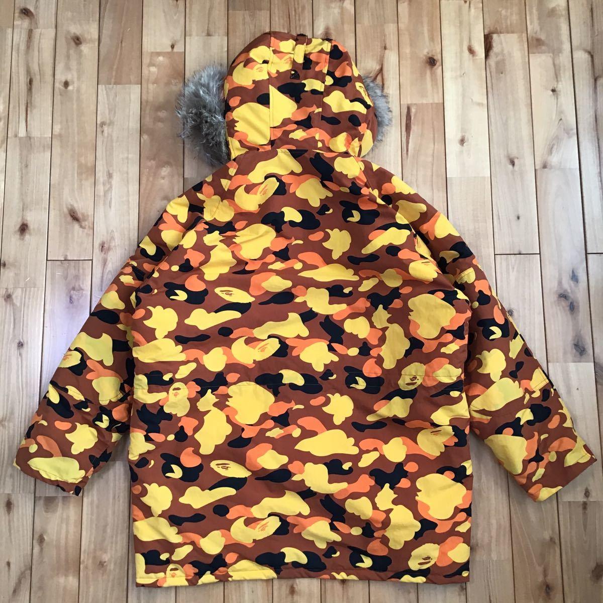 ファー付き 中綿ジャケット Mサイズ orange camo FUR hoodie down jacket a bathing ape bape エイプ ベイプ アベイシングエイプ 迷彩
