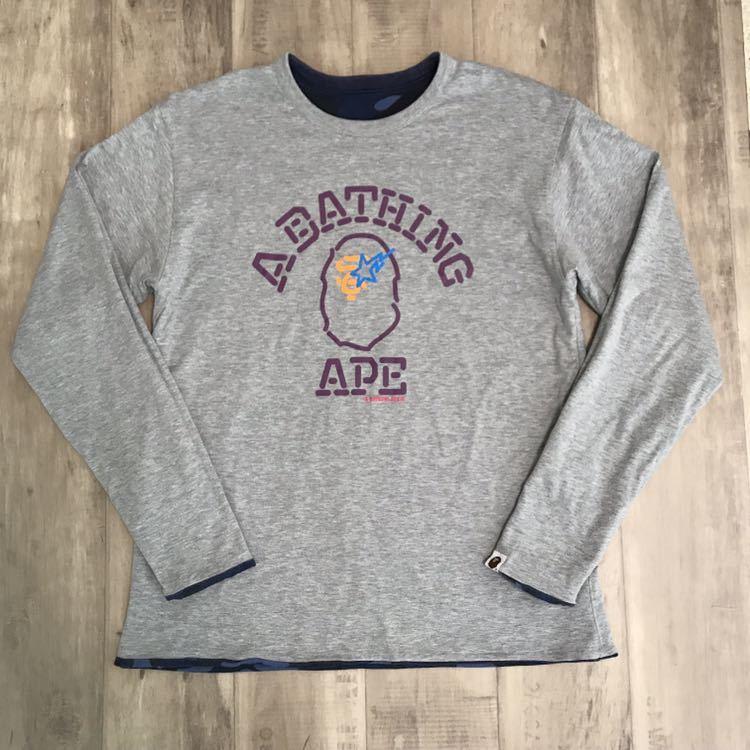 ★リバーシブル★ blue color camo neon college logo 長袖 Tシャツ a bathing ape bape カレッジロゴ エイプ ベイプ カラーカモ 迷彩