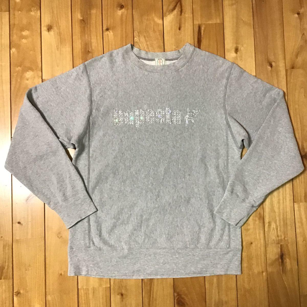 スワロフスキー 長袖 スウェット Sサイズ a bathing ape swarovski BAPE logo sweat エイプ ベイプ アベイシングエイプ ラインストーン 632