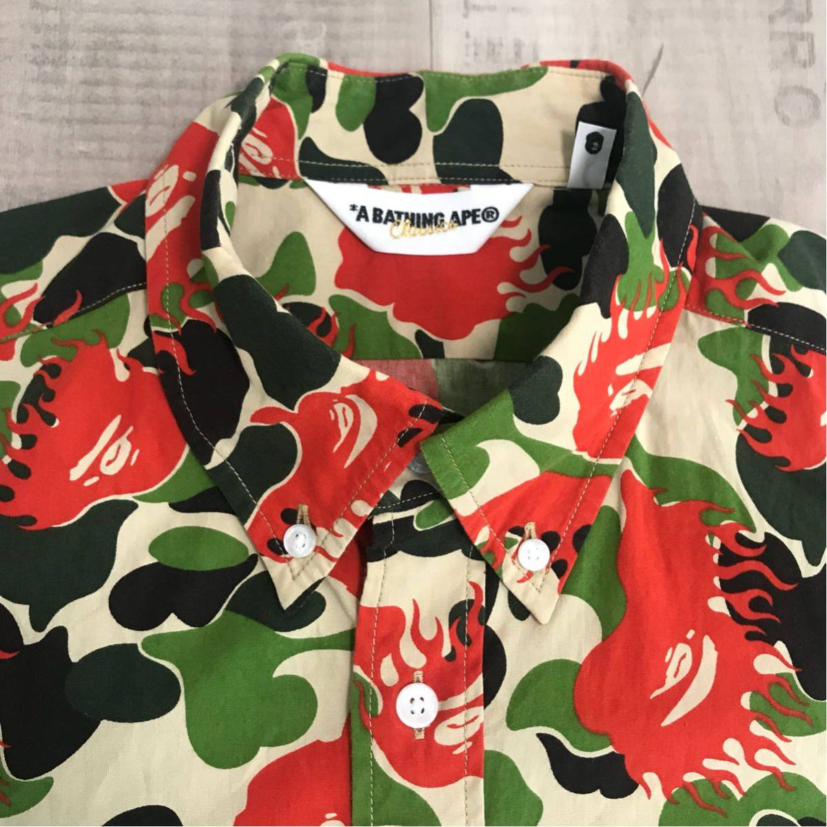 ★激レア★ fire camo BD 半袖シャツ Mサイズ a bathing ape bape エイプ ベイプ アベイシングエイプ ファイヤーカモ 迷彩 nigo flame
