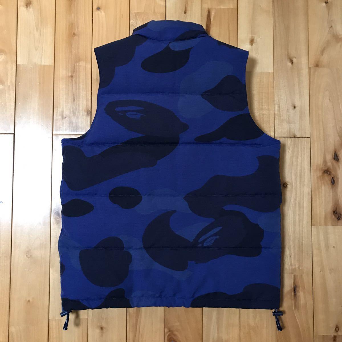 ダウンベスト giant camo blue Mサイズ a bathing ape BAPE エイプ ベイプ アベイシングエイプ zoom down vest ブルーカモ 青 迷彩 154