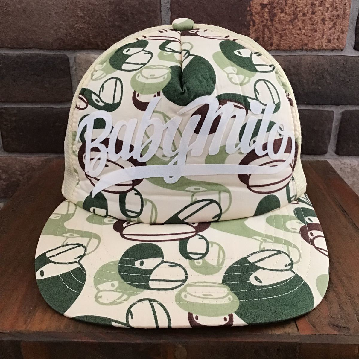 マイロカモ メッシュキャップ green a bathing ape BAPE エイプ ベイプ アベイシングエイプ baby milo camo cap trucker hat 帽子 迷彩 212