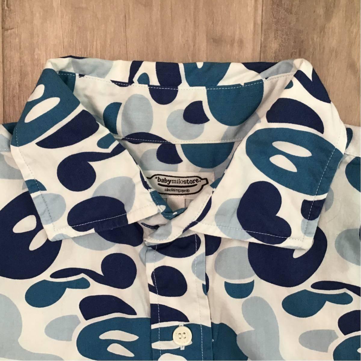 ★未使用★ ABC milo camo blue 半袖シャツ Mサイズ a bathing ape bape エイプ ベイプ アベイシングエイプ ABCカモ マイロ 迷彩 nigo qg21