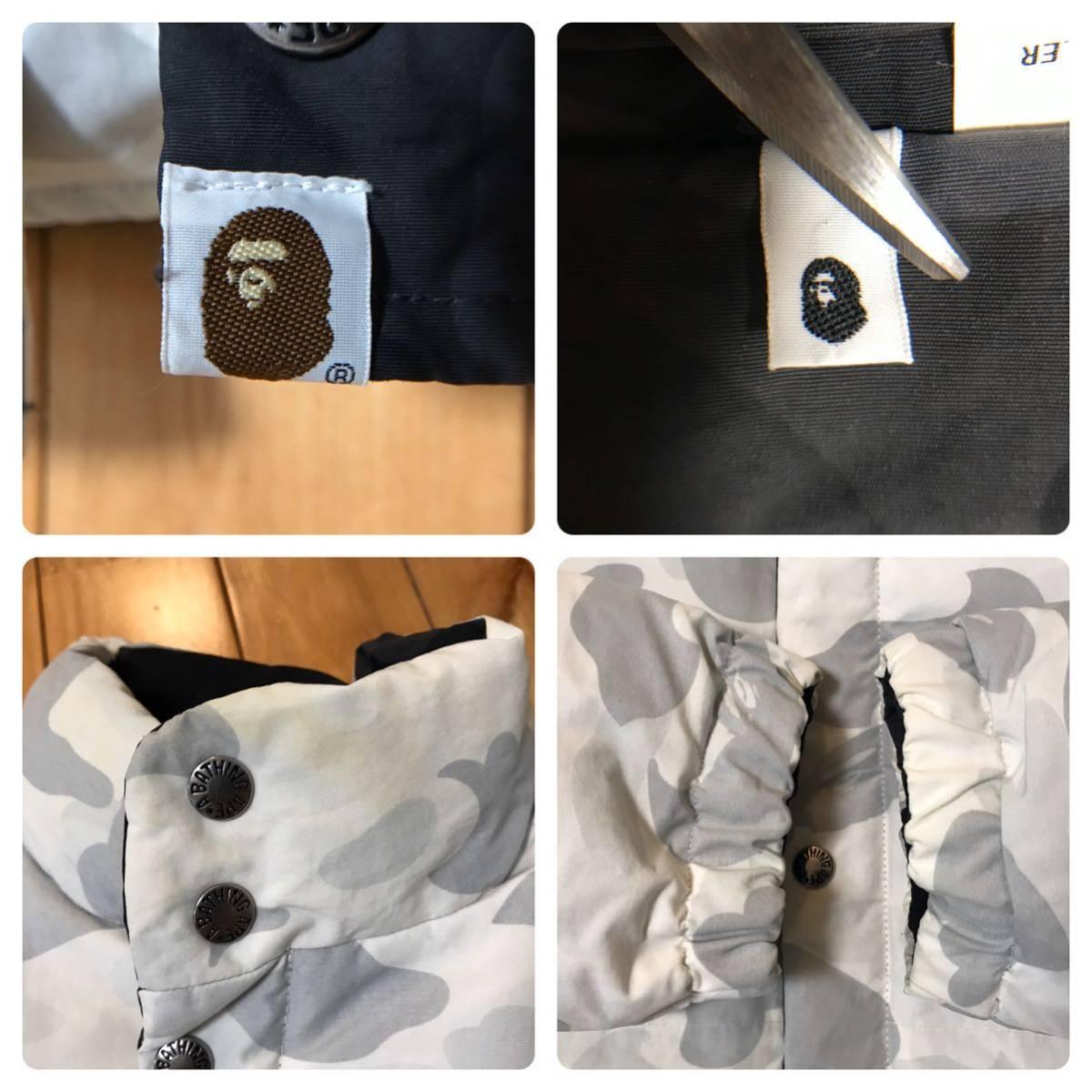 ★リバーシブル★ ダウンジャケット black camo × white camo Mサイズ a bathing ape bape エイプ ベイプ reversible down jacket 迷彩