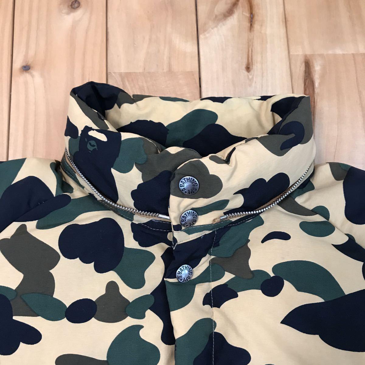 ファー付き ダウンジャケット Lサイズ FUR hoodie down jacket a bathing ape bape エイプ ベイプ アベイシングエイプ 1st camo yellow 524