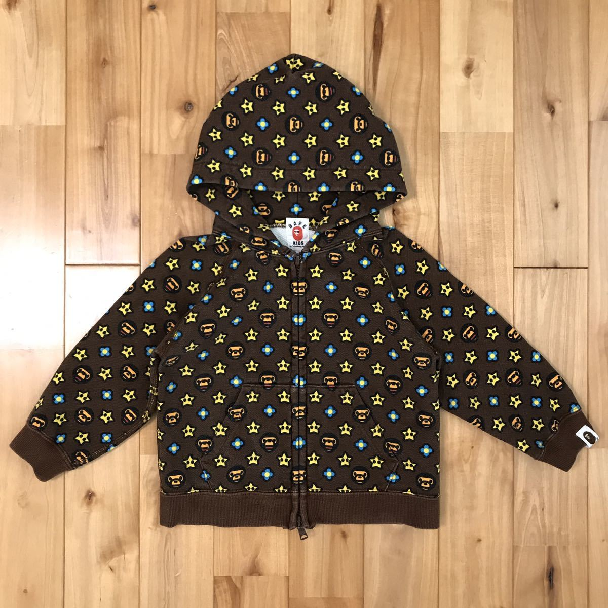 マイロ モノグラム パーカー キッズ 100サイズ a bathing ape bape baby milo Monogram zip hoodie エイプ ベイプ アベイシングエイプ kids