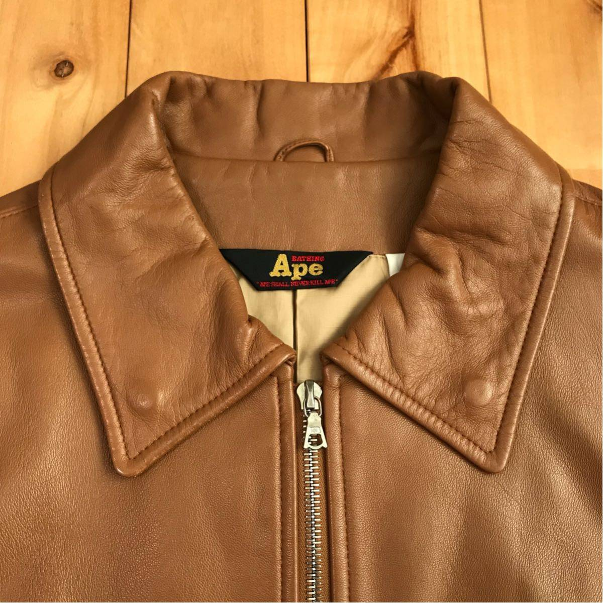 ★初期★ シープスキン ライダース ジャケット Mサイズ a bathing ape bape sheepskin leather jacket 羊革 エイプ ベイプ nigo レザー