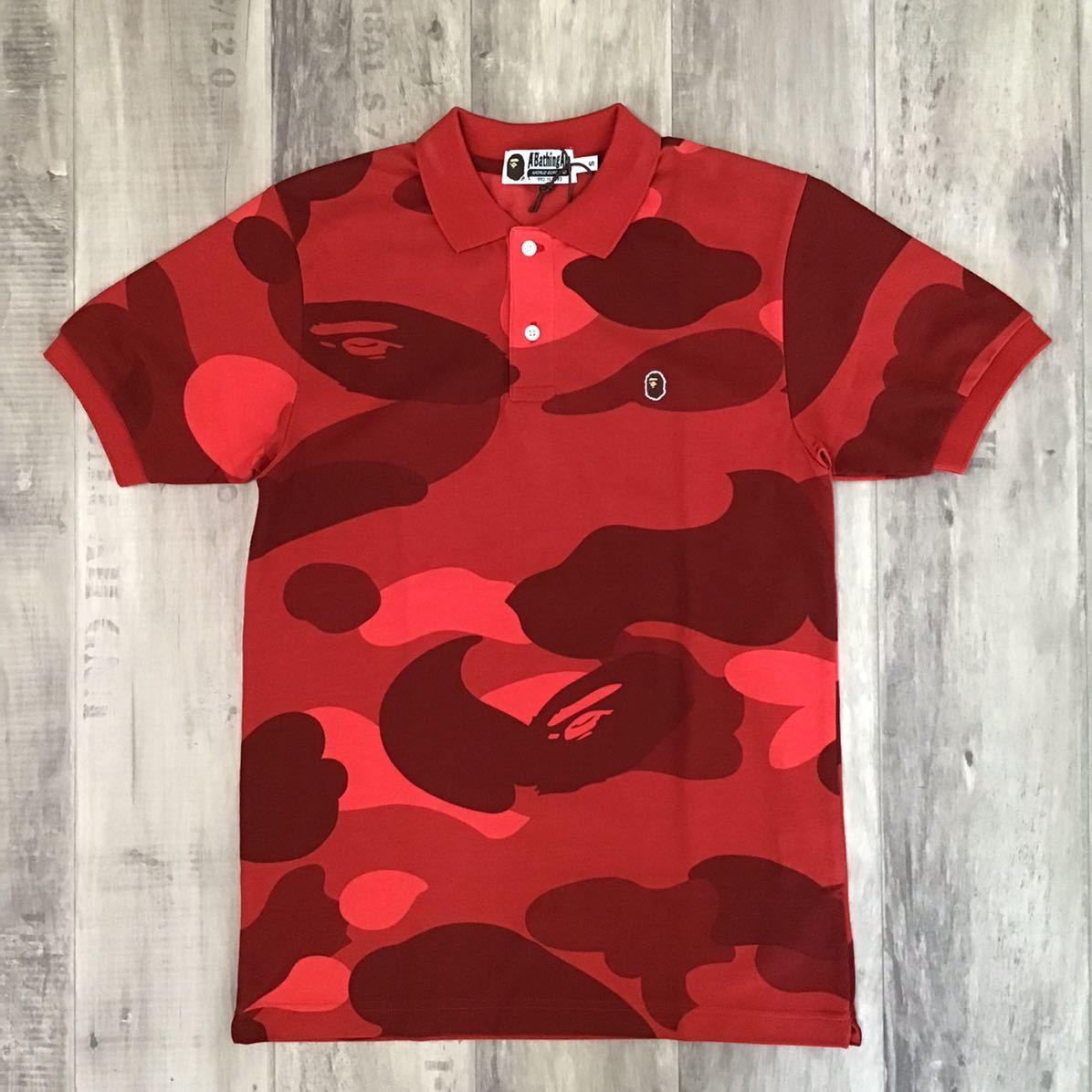 ★新品★ Giant camo ポロシャツ Sサイズ a bathing ape bape エイプ ベイプ アベイシングエイプ 迷彩 polo shirt zoom camo Red camo ui88