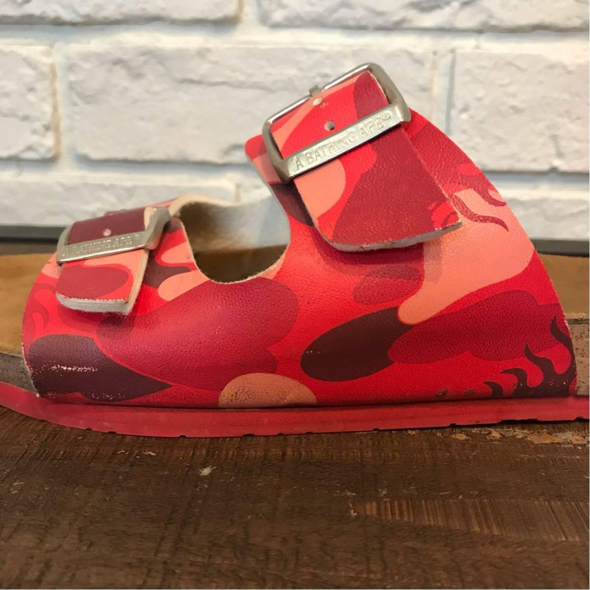 ★ムック限定★ fire camo サンダル a bathing ape bape sandals エイプ ベイプ ファイヤーカモ mook book limited red camo ladies 迷彩