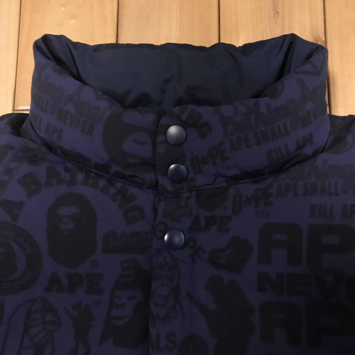 ★パイレーツストア限定★ ダウンベスト mix logo ネイビー Mサイズ a bathing ape BAPE エイプ ベイプ アベイシングエイプ down vest