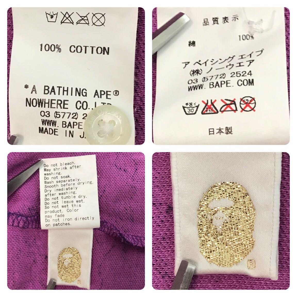 ★激レア★ fire camo ポロシャツ Mサイズ a bathing ape bape エイプ ベイプ アベイシングエイプ ファイヤーカモ 迷彩 flame purple f985