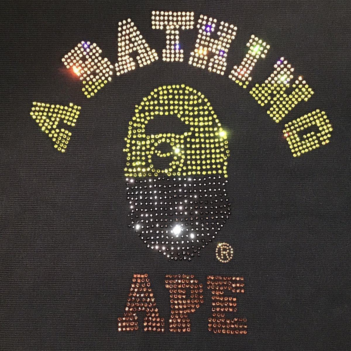 ★XL★ スワロフスキー カレッジロゴ 長袖 スウェット a bathing ape bape swarovski ラインストーン エイプ ベイプ college logo nigo 313