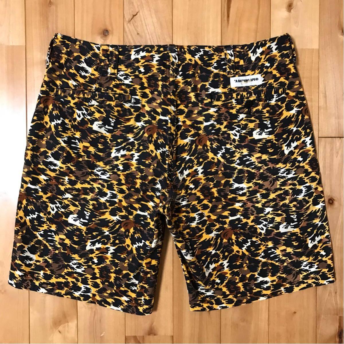 レオパードカモ ハーフパンツ Lサイズ a bathing ape BAPE camo shorts ショーツ 豹柄 ヒョウ柄 エイプ ベイプ アベイシングエイプ nigo