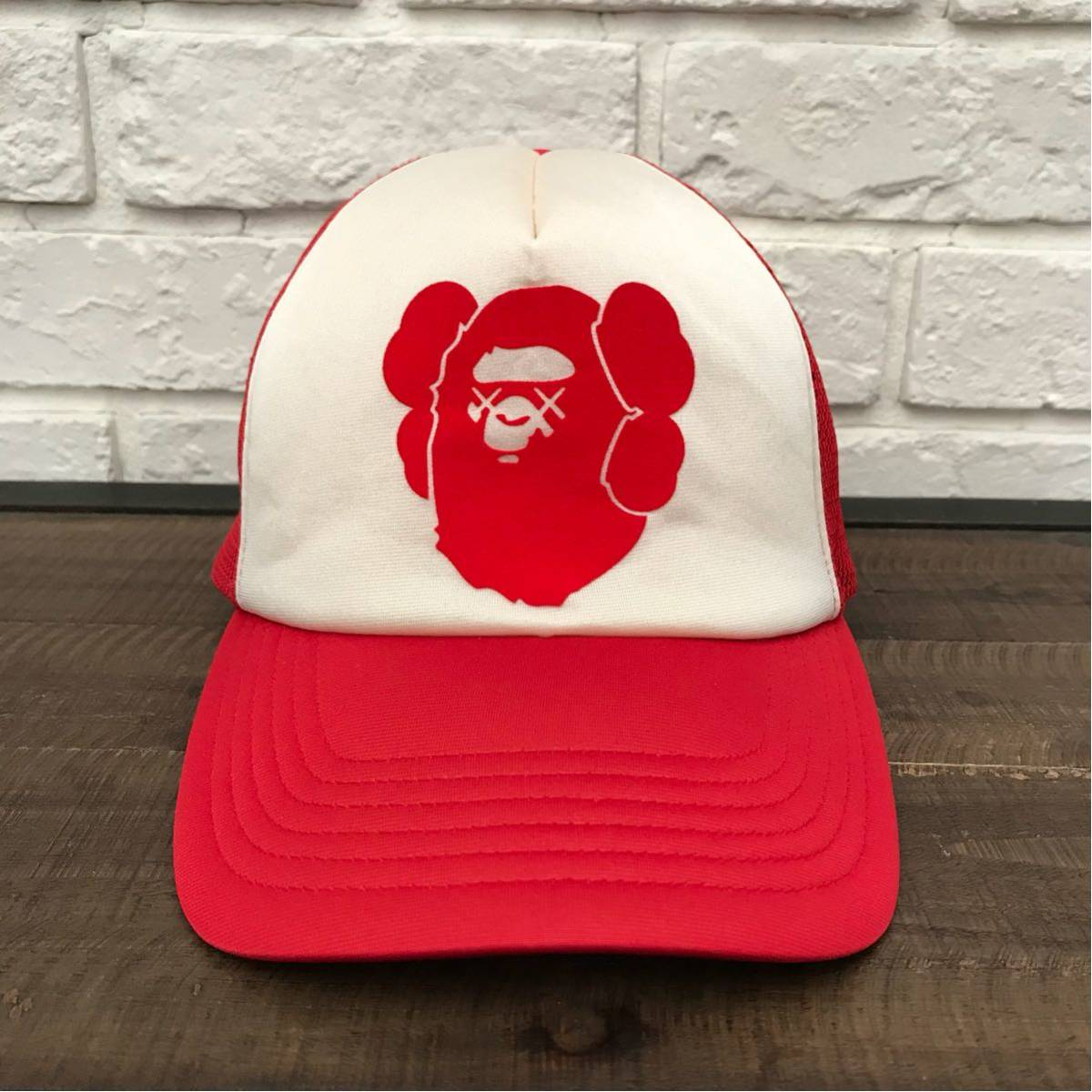 ★激レア★ kaws × BAPE メッシュ キャップ a bathing ape エイプ ベイプ アベイシングエイプ カウズ 帽子 trucker hat cap nigo red