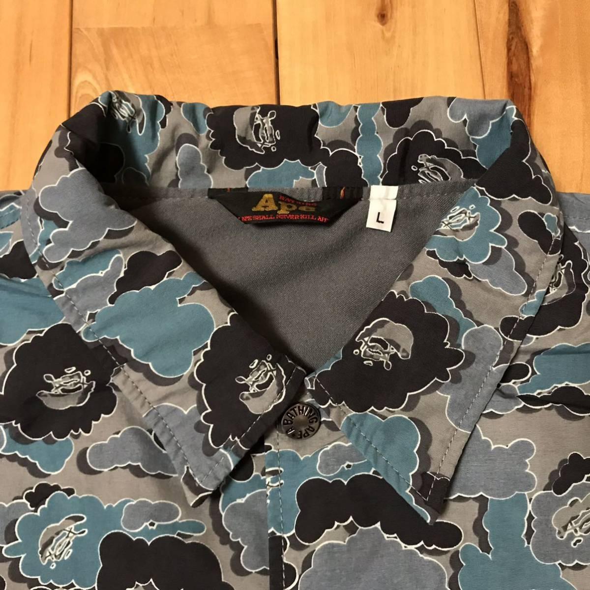 ★激レア★ kaws × BAPE cloud camo コーチジャケット Lサイズ a bathing ape jacket エイプ ベイプ アベイシングエイプ カウズ nigo 迷彩