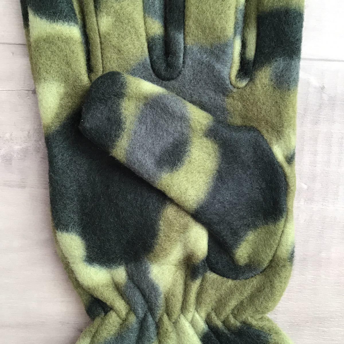 ★非売品★ bape フリース グローブ green camo 手袋 a bathing ape エイプ ベイプ アベイシングエイプ グッズ コレクション ノベルティ