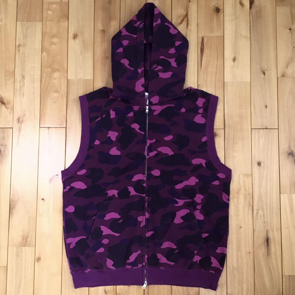 purple camo スウェット フード ベスト Mサイズ a bathing ape bape hoodie vest エイプ ベイプ アベイシングエイプ パーカー 迷彩 1244