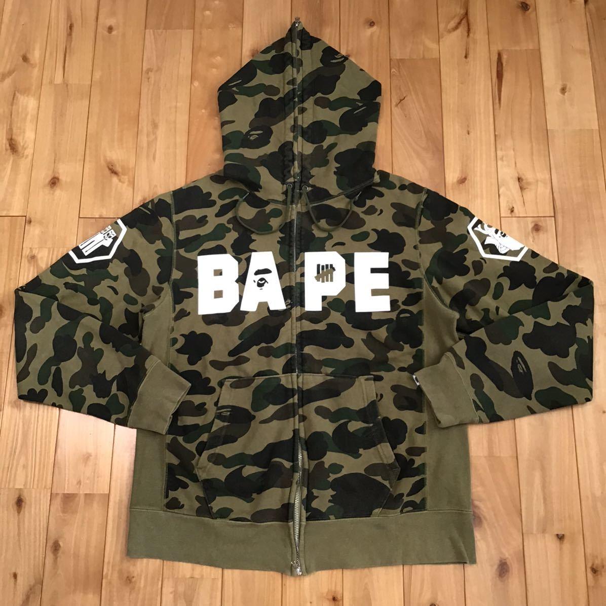 undefeated × BAPE フルジップ パーカー Lサイズ a bathing ape full zip hoodie 1st camo green エイプ ベイプ アベイシングエイプ ns3